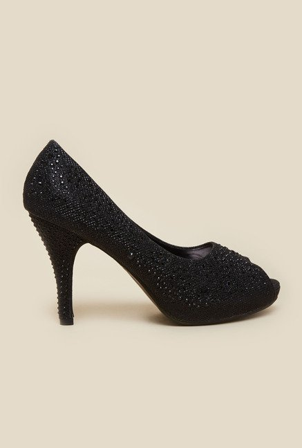 Metro Black Studded Peep Toe Stilettos
