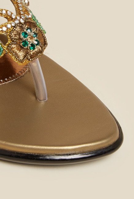 Metro Gold Embroidered Wedge Sandals