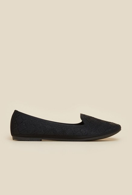 Metro Black Embroidered Ballerina Shoes