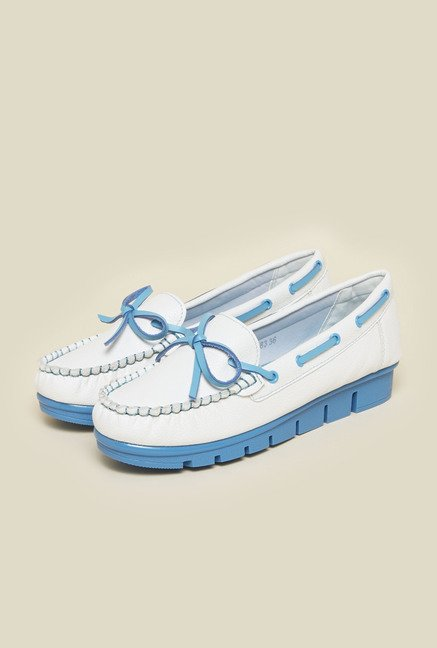 Metro White & Blue Loafers