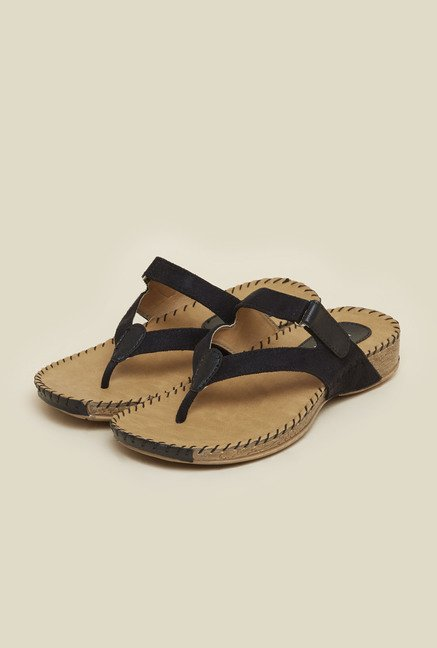 Metro Black Suede Velcro Sandals