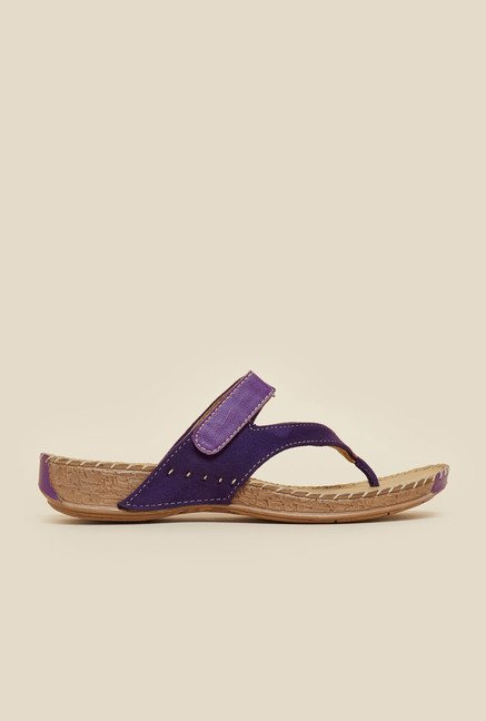 Metro Purple Suede Velcro Sandals