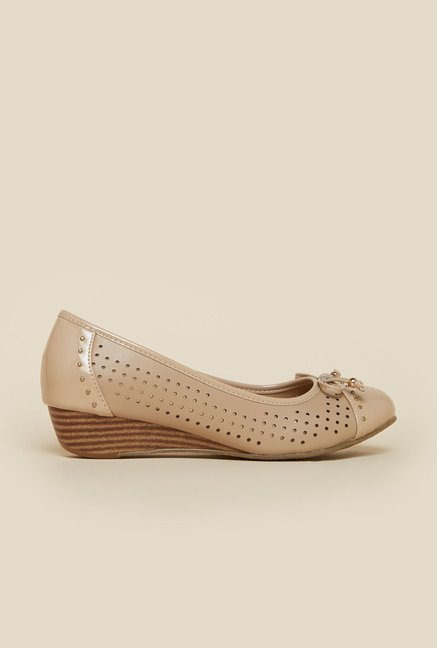 Metro Beige Embellished Ballet Shoes
