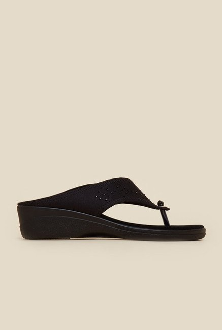 Metro Black Embellished Slip-On Sandals