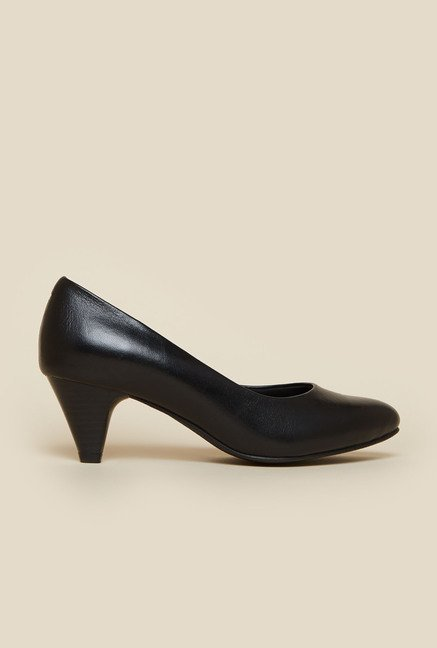 Metro Black Heeled Pumps