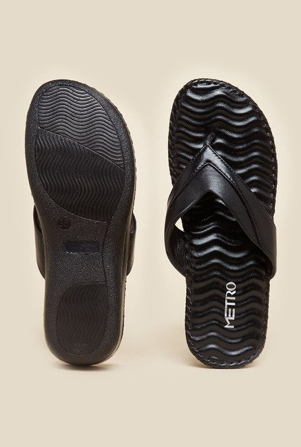 Metro Black Textured Sole Sandals