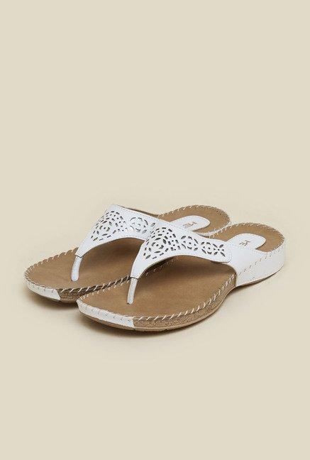 Metro White Laser Cut Slip-On Sandals