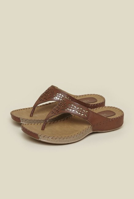 Metro Tan Laser Cut Slip-On Sandals