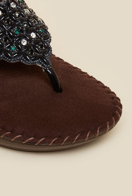 Metro Black Diamante & Beadwork Sandals