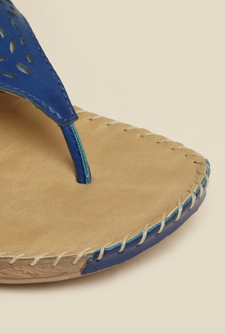 Metro Blue Laser Cut Slip-On Sandals