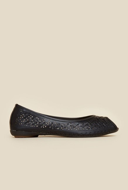 Metro Black Peep Toe Flat Shoes