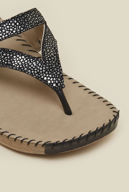 Metro Black & Silver Dotted Sandals