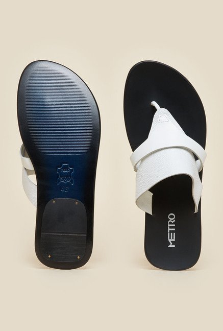 Metro White Full Grain Leather Sandals