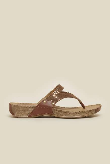 Metro Bronze & Gold Dotted Sandals