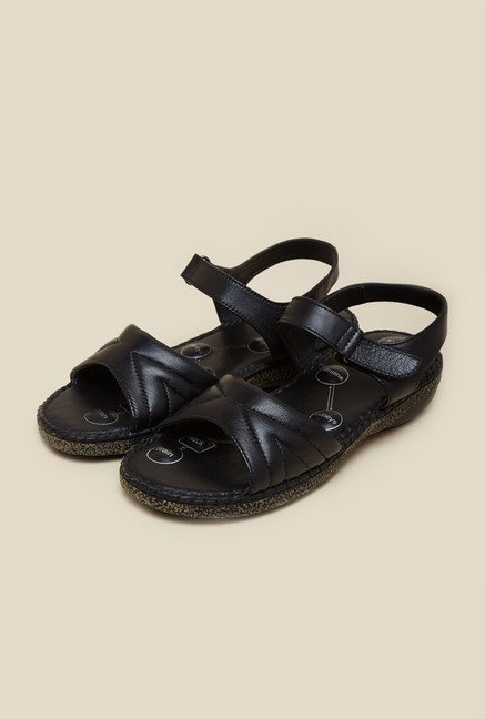 Metro Black Casual Flat Sandals