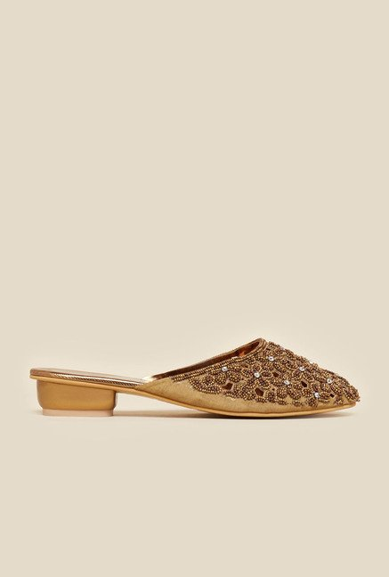 Metro Antique Gold Beaded Slip-On Flats