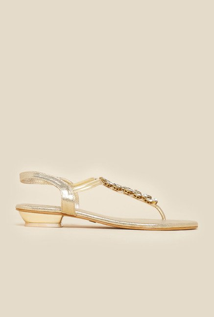 Metro Embellished Gold Back Strap Sandals