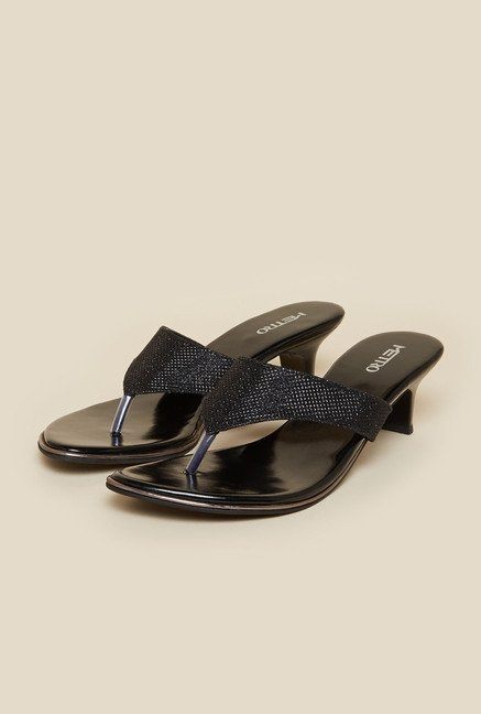 Metro Black Slip-On Kitten Heel Sandals