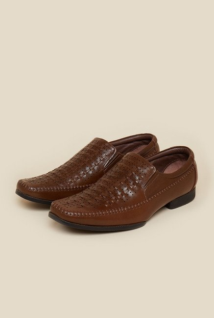 Metro Tan Weave Design Formal Moccasin