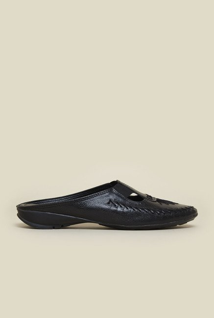 Metro Black Front Covered Slip-On Sandals