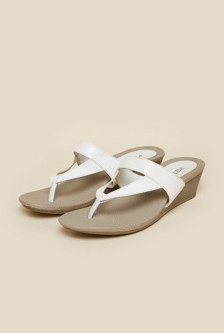 Metro White Casual Slip-On Wedges