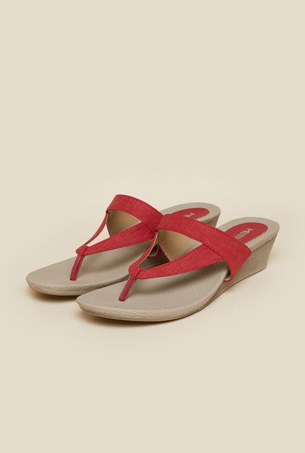 Metro Red Casual Slip-On Wedges