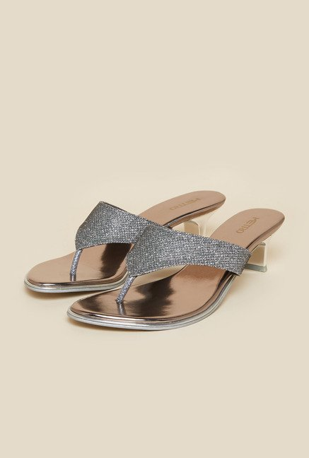 Metro Gun Metal Slip-On Kitten Heel Sandals