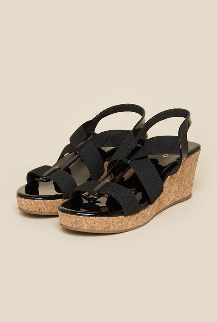 Metro Black Textured Wedge Sandals