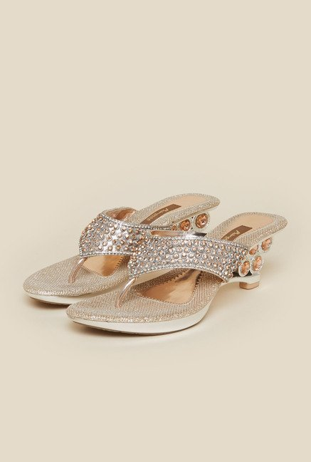 Metro Silver Beaded Wedges