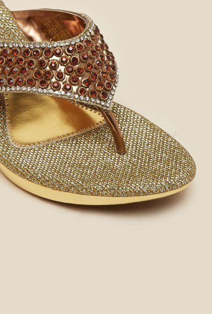 Metro Gold Beaded Wedges
