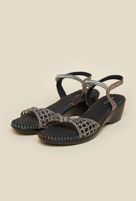 Metro Gun Metal Ankle Strap Sandals