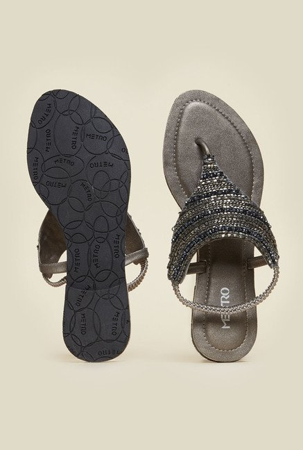 Metro Gun Metal  Ethnic Sandals