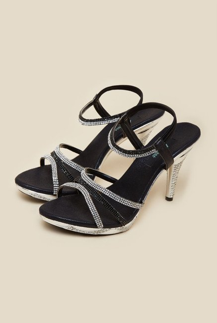 Metro Black Criss-cross Stiletto Sandals