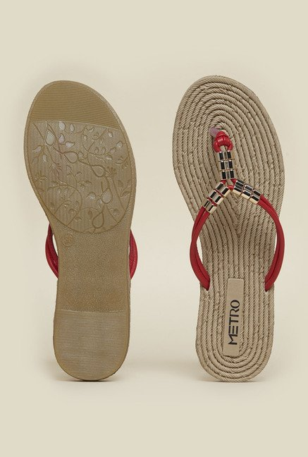 Metro Red With Gold Beading Slip-Ons