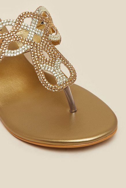 Metro Gold Embellished Kitten Heel Sandals