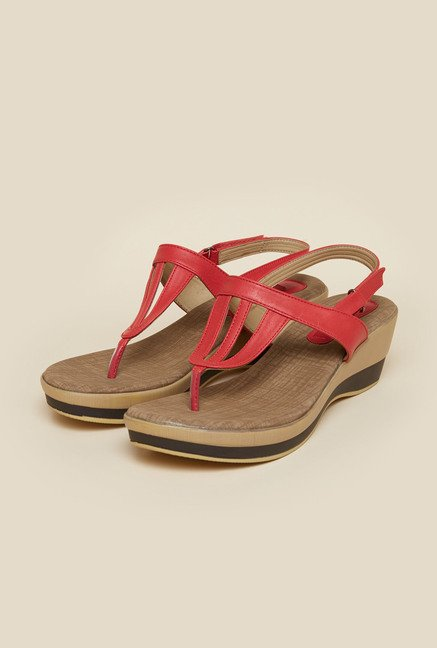 Metro Red Strap Wedges