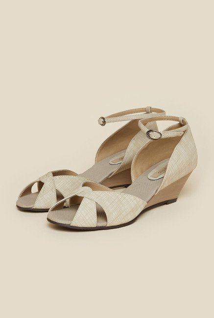 Metro Beige Twisted Strap Wedge Sandals