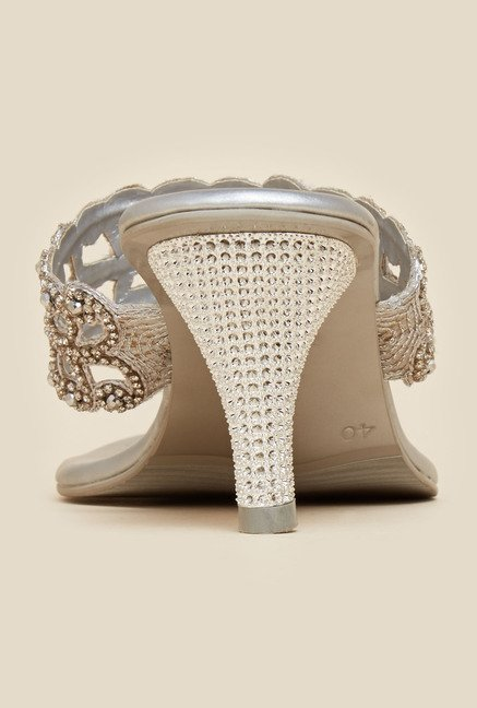 Metro Silver Beaded Sandals