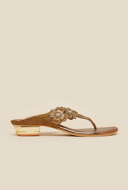 Metro Antique Gold Embroidered Sandals