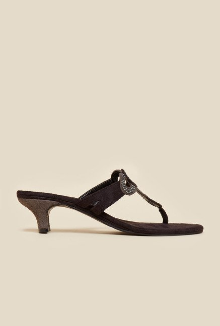 Metro Black Suede Finish Sandals