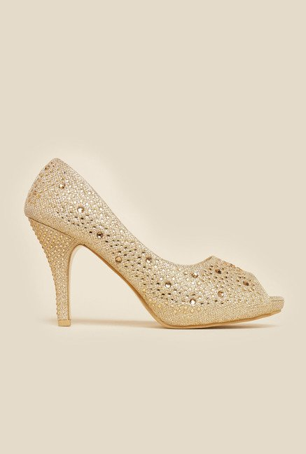 Metro Gold Studded Peep Toe Stilettos