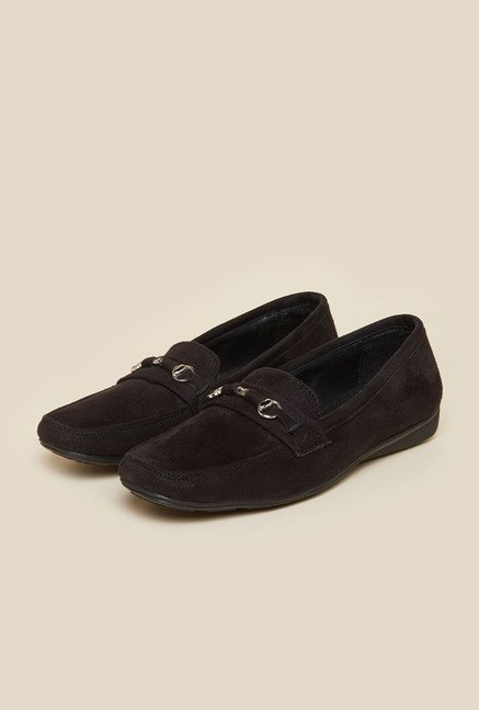 Metro Black Suede Leather Loafers