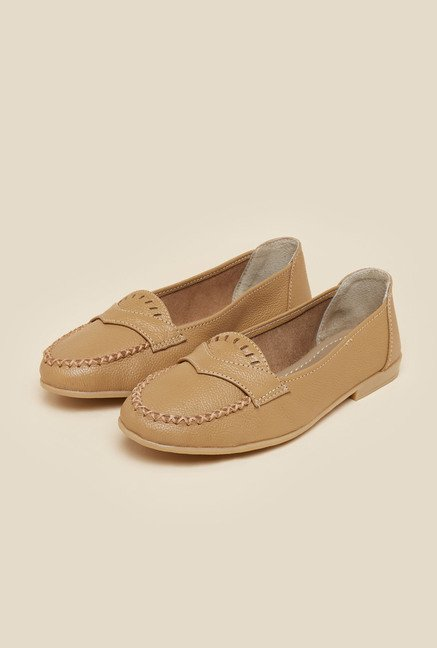 Metro Beige Flat Slip-On Shoes