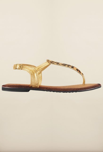 Tresmode Gold Flat Sandals