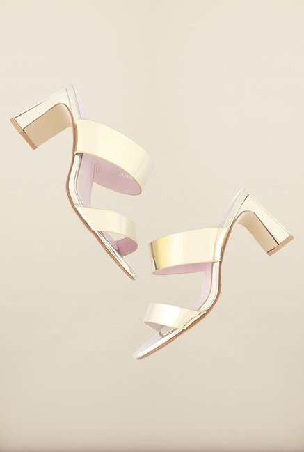 Tresmode Beshine Gold Slide Sandals