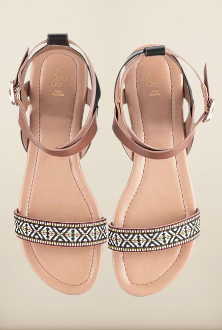 Tresmode Rosandal Black & Brown Flat Sandals