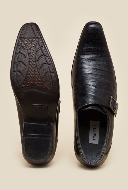 Metro Black Leather Formal Shoes