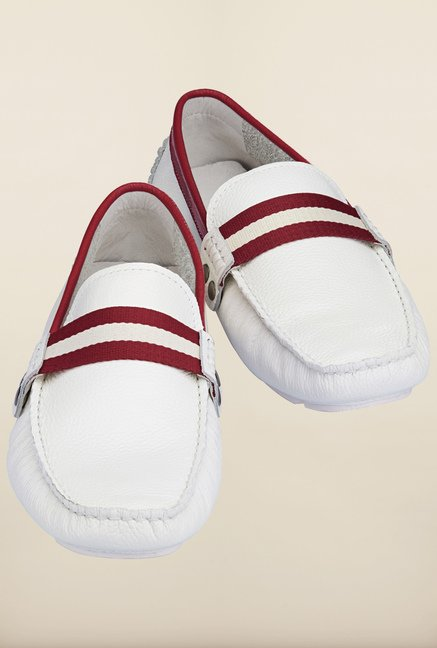 Tresmode Jiestrip White & Red Loafers