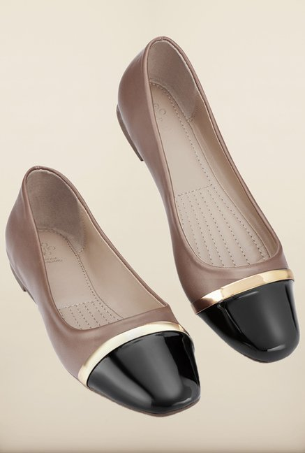 Tresmode Merun Brown & Black Ballerinas