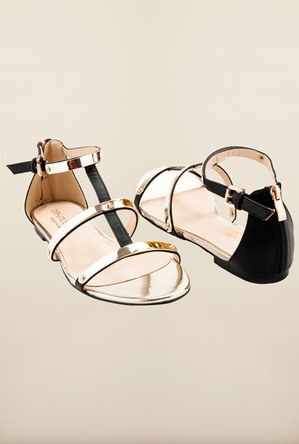 Tresmode Cishine Black Flat Sandals